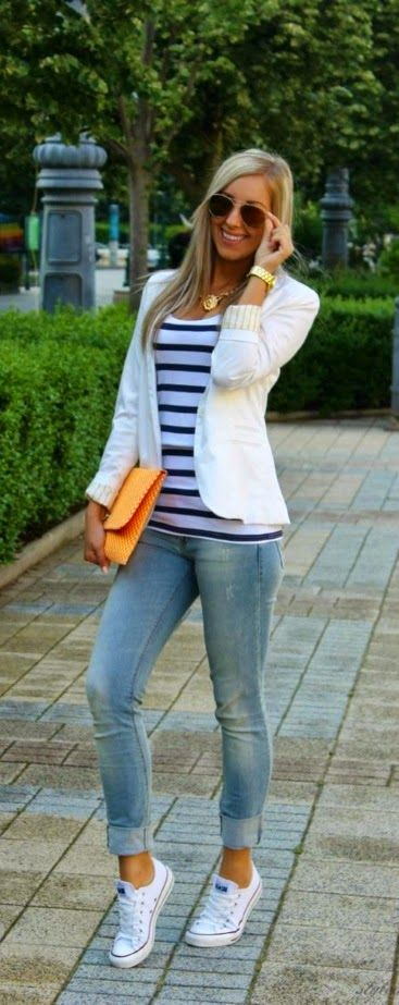 Spring/Fall: Sneakers + Blue Jeans + T-shirts + Blazers