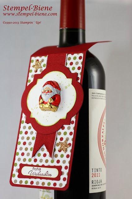Ein weihnachtlicher Flaschenanhänger - Stempel-Biene