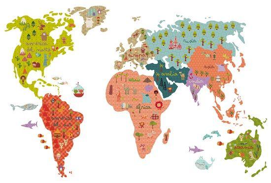 Vinilos mapamundi vinilos personalizados para habitaciones infantiles mamidecora just i like - Vinilo mapamundi infantil ...