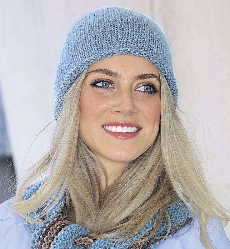 Описание вязания на спицах голубой шапки из журнала «Verena. Спецвыпуск» №4/2015
