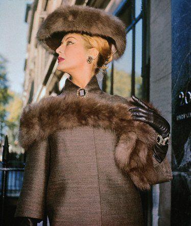 Model Wearing Norman Hartnell Fashion 1959