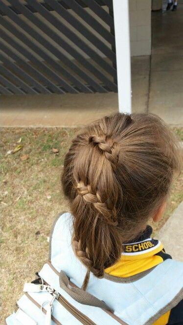 Spiral ponytail braid. Simple easy children's hairstyles