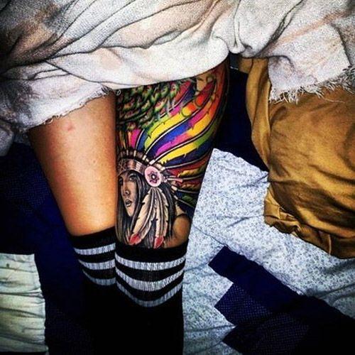 tatuaże damskie indianka na udzie - image #5129935 by tattooamazing on Favim.com