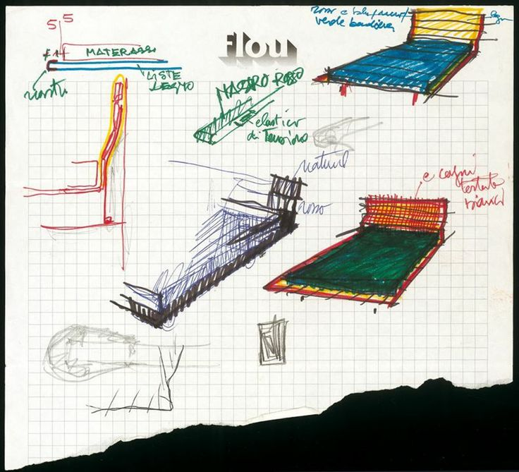 sketch of Tadao Bed by Vico Magistretti for Flou (1993)