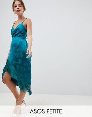 b925c634968 ASOS DESIGN Petite Lace up back fringe soft jacquard mini dress