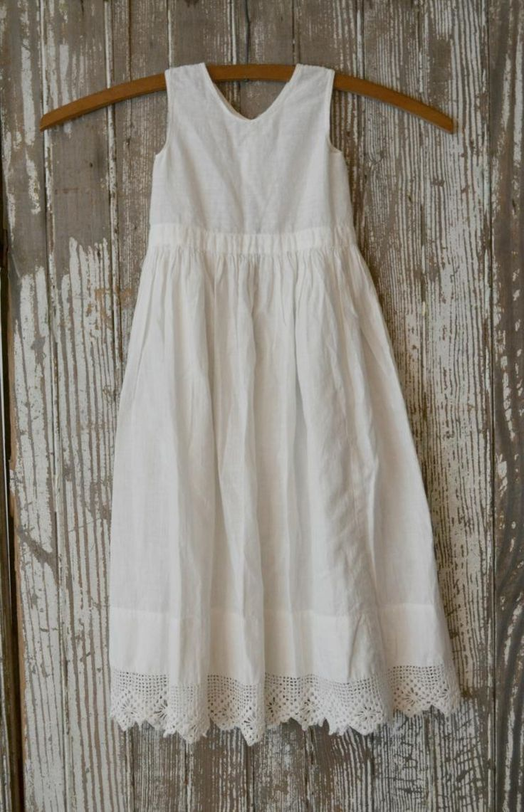 Simple white cotton dress I want o make two of these for my girls.:)