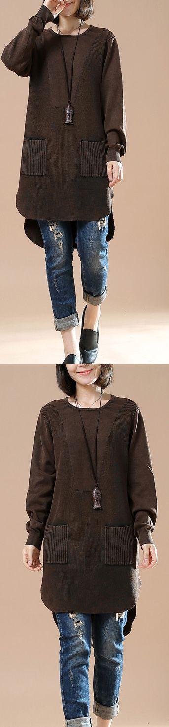 Chocolate oversized sweater shirt pockets casaul style