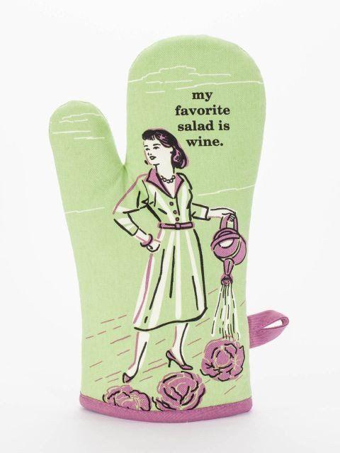 My Favorite Salad is Wine Oven Mitt - Blue Q