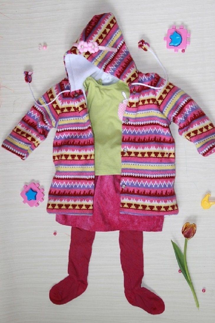 Детское пальто из маминого свитера (DIY)