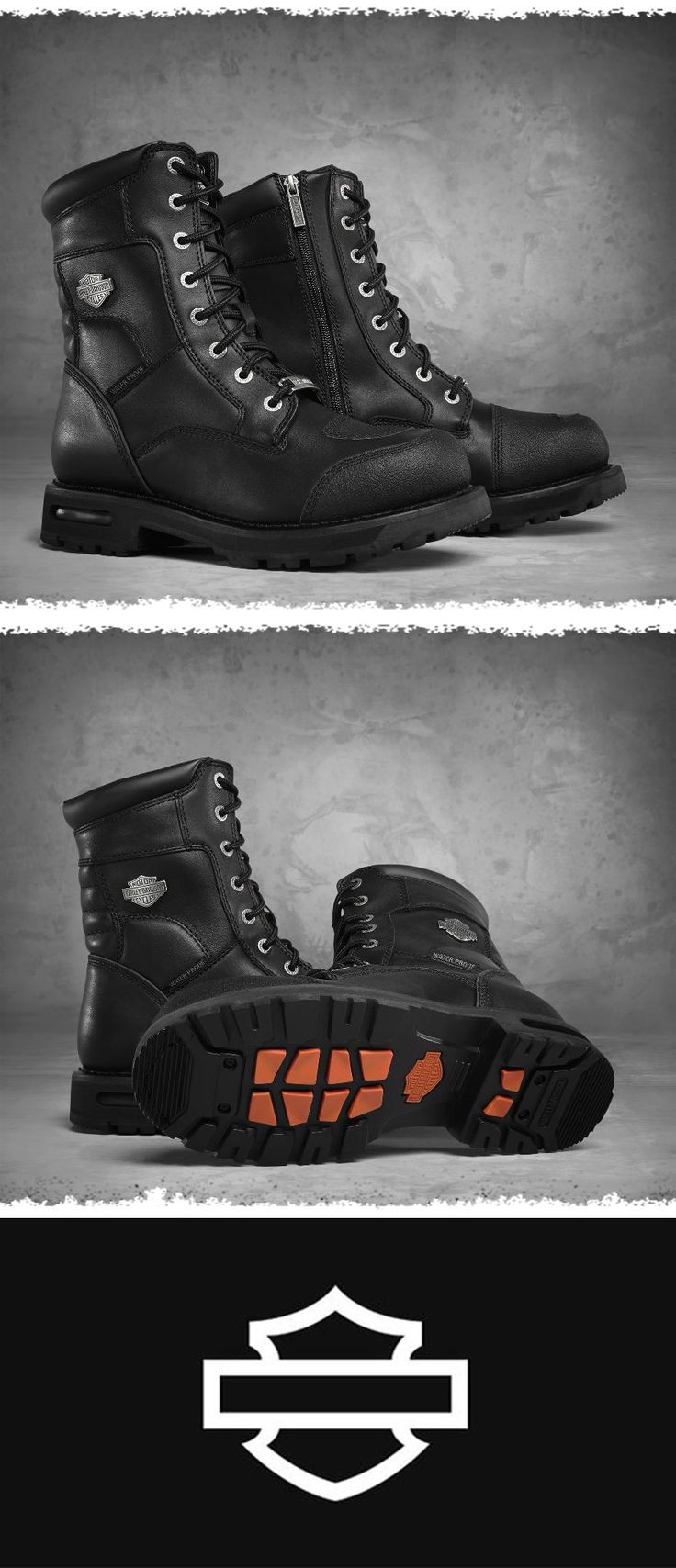 The rugged look and great quality will be the perfect addition to your riding collection. | Harley-Davidson Men's Richfield Waterproof Performance Boots #FathersDay