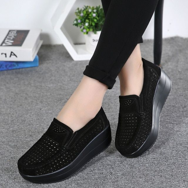 Womens Casual Flats Heel Breathable Slip On Loafer Sneaker Shoes Creeper Loafer