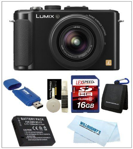 Panasonic LUMIX DMC-LX7 (Black) + Camera Case + Spare Battery + 16GB SDHC Deluxe Kit by Panasonic. $389.00. THE LUMIX LX7 - FEATURES A FULLY REDESIGNED LENS, IMAGING PROCESSOR AND ENGINE FOR POWERFUL PERFORMANCE AND OUTSTANDING PICTURE QUALITY The Willoughby's Panasonic Kit Includes: 1. Panasonic LUMIX DMC-LX7 10.1 MP Digital Camera with 7.5x Intelligent zoom and 3.0-inch LCD (Black) 2. Spare DMW-BCJ13 Lithium-Ion Battery 3. LexSpeed 16GB Class 10 SDHC Memory Card 4. Memor...