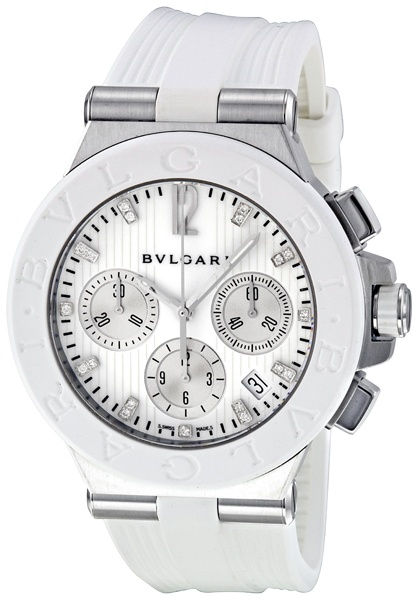 (Limited Supply) Click Image Above: Bvlgari Diagono Chronograph White Rubber Mens Watch 101801
