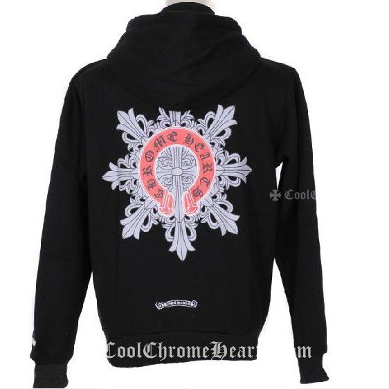 Chrome Hearts Black Cross Hoddie with Red Horseshoes Logo