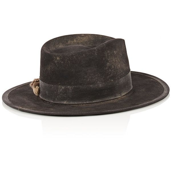 Nick Fouquet Men's The Lucky Cat Fur Felt Fedora ($1,325) ❤ liked on Polyvore featuring men's fashion, men's accessories, men's hats, mens wide brim fedora hats, mens wide brim fedora, mens hats and men's brimmed hats