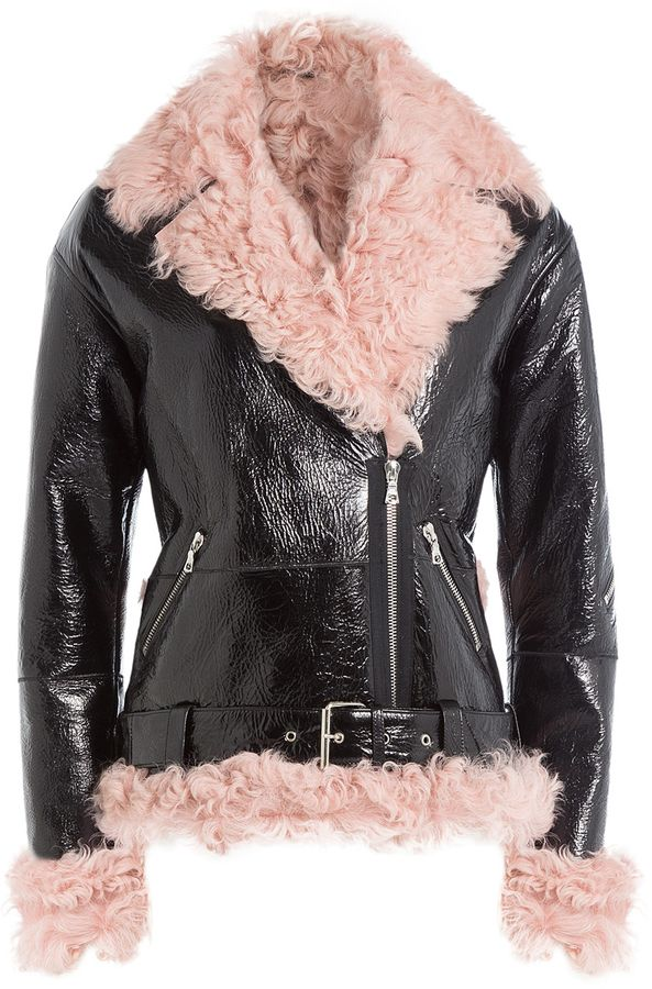 Sandy Liang Leather and Shearling Biker Jacket