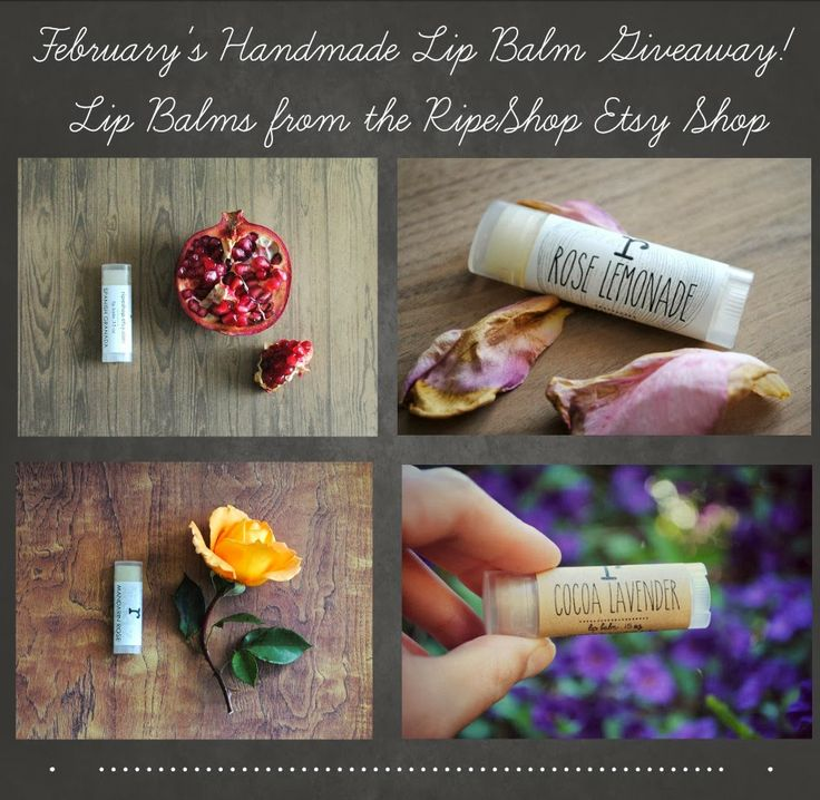 Enter to win your choice of 3 lip balms from RipeShop on Etsy!! Easy and free to enter, just follow this link: http://giveawaycentral21.blogspot.com/2014/02/february-giveaway-lip-balms-from.html #giveaways #giveaway #etsy #beauty #bathandbody #giftideas #blogpost #freestuff