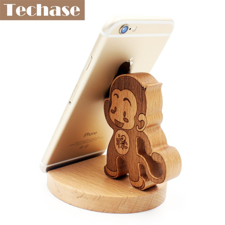 >> Click to Buy << Techase Wooden Telefoon Accessories Monkey Design Phone Holder Solid Wood Suporte Para Celular Desk Stand For Phone Ring Tripod #Affiliate