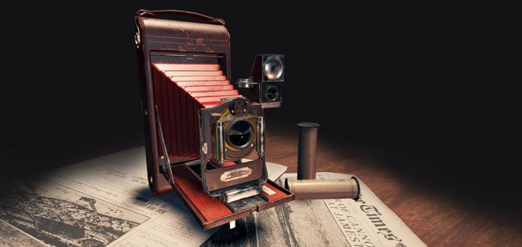 Folding camera kodak type 3A made by Eastman Kodak Company, introduced in 1903 and was being made untill 1915. Lowpoly GameObject modeled in 3dsmax, textured in substance painter, rendered in Unreal Engine 4.