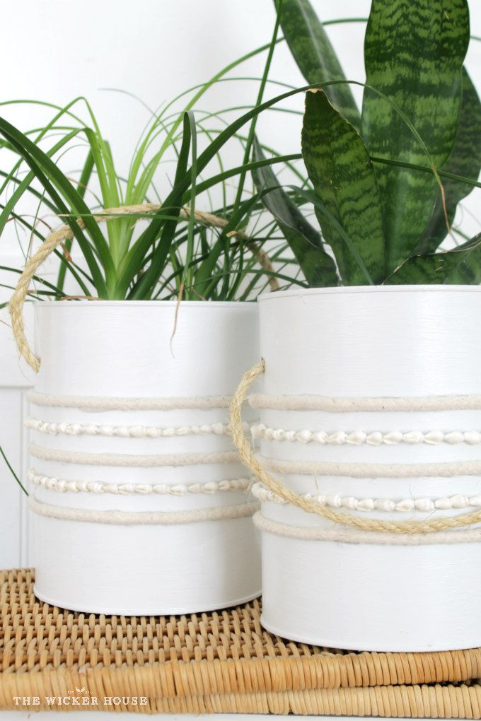DIY Farmhouse Plant Holders -- an idea for coffee cans.