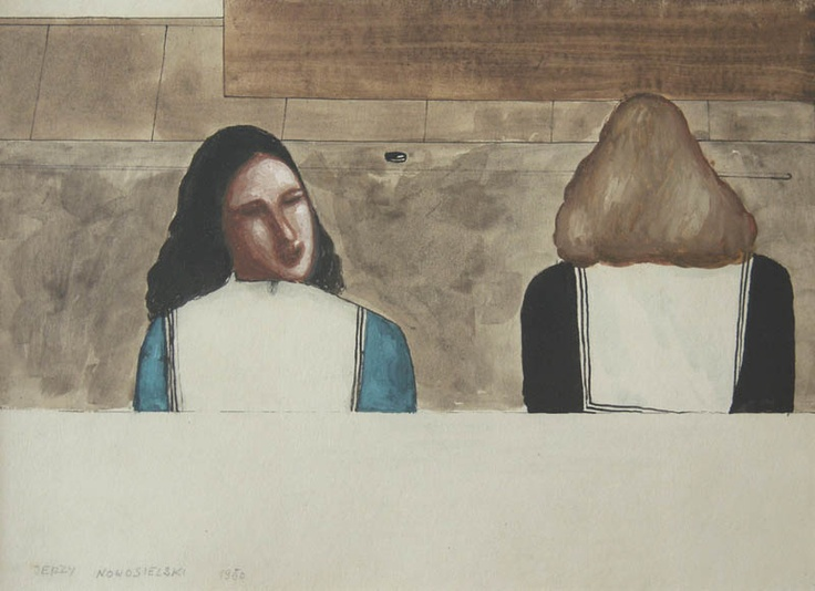 Jerzy Nowosielski | Dwie kobiety, 1950 | ink/watercolour/paper