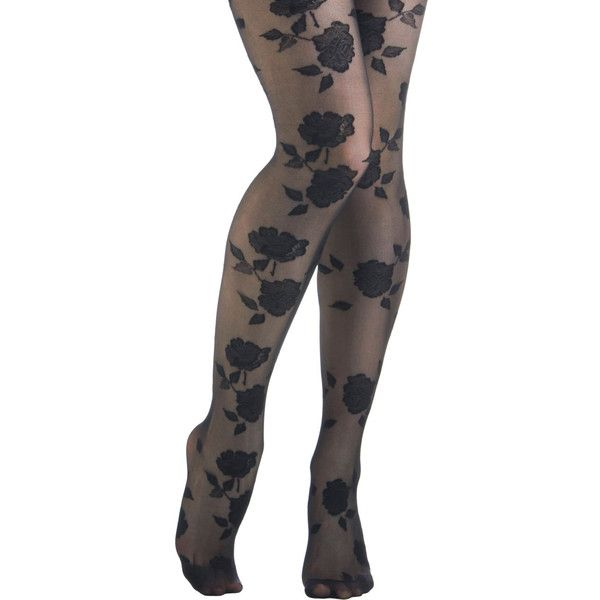 ModCloth Film Noir, Pinup, Vintage Inspired, 30s, 50s, French Bloom of... ($12) ❤ liked on Polyvore featuring tights, leggings, tights & leggings, black, pants, hosiery, foundation, full-length tight and tight