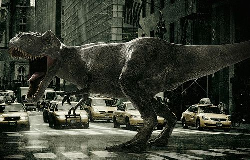 I think about dinosaurs in the city way too often....and also what I might do if this happened...
