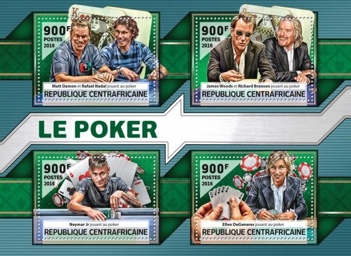 CA16511a Poker (Matt Damon with Rafael Nadal playing poker; James Woods with Richard Branson playing poker; Neymar Jr. playing poker; Ellen DeGeneres playing poker)