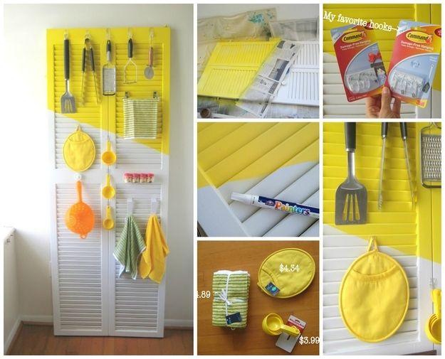 Organizador de cozinha feito com persiana | 50 objetos que você mesmo pode fazer para organizar toda a sua vida