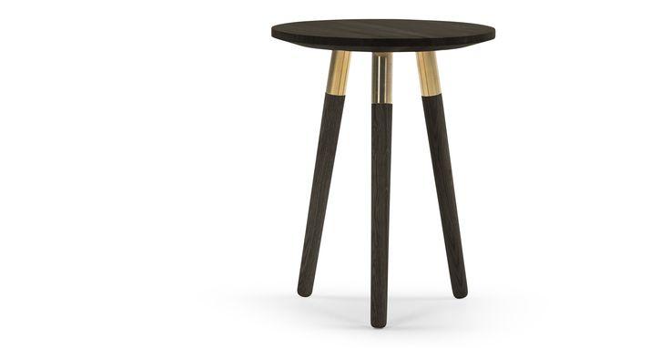 Range Side Table, Dark Stain Ash Veneer and Brass | made.com