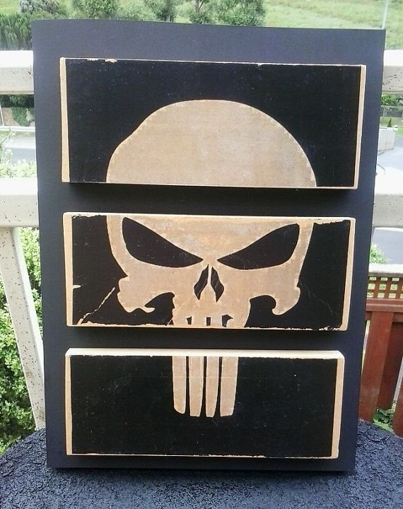 The Punisher Split Mounted Wood Block by 6DistressedMemories9