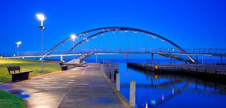 Frankston Waterfront and Landmark Bridge. Frankston, Victoria, Australia
