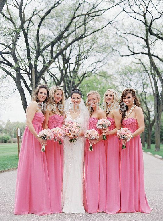 c619e040b Encontrar Más Vestidos de Damas de Honor Información acerca de 2014  Glamorous Pink satén vestidos una línea sin tirantes sin manga…