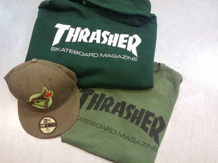 Calling all skaters - #PlatosClosetBrampton has some great #Thrasher, all in lush green shades, perfect for spring! #skaterstyle //Thrasher sweatshirt, men's medium, $35//tee, men's small, $12//#Jays fitted, 7 3/8, $12// | www.platoseclosetbrampton.com