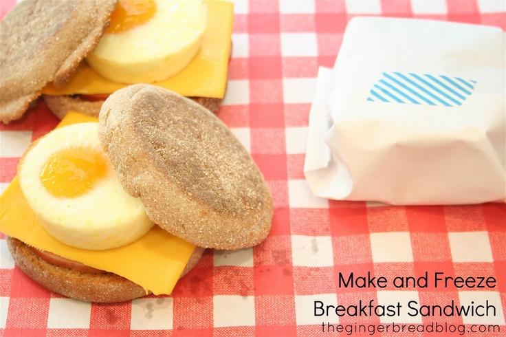 GINGERBREAD: Recipe >> Make & Freeze Breakfast Sandwiches: Make Ahead Breakfast, Gingerbread Blog, Bacon Muffins, Freezers Sandwiches, Eggs Sandwiches, Freezers Breakfast Sandwiches, Freeze Breakfast, Guest Posts, Gingerbread Recipes