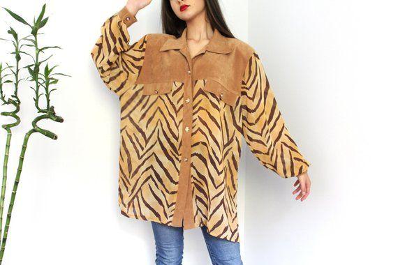 38ba14b29a4e13 Vintage Tiger Print Shirt / Made in France / Summer Blouse / Animal Print  Top / Loose Shirt / Women's Shirt / Boho Blouse / Tiger Stripe