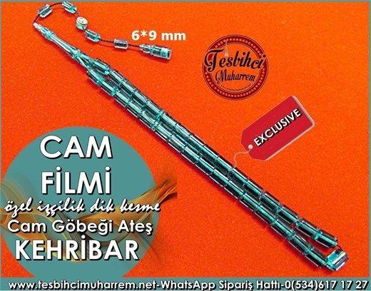 Özel İşçilik Dik Kesme Ateş Kehribar Tesbih 6*9 mm Cam Filmi Ürün Kodu: TM7705