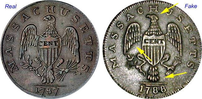 Coin Value: US Massachusetts Cent and Half Cent (Fakes are ...