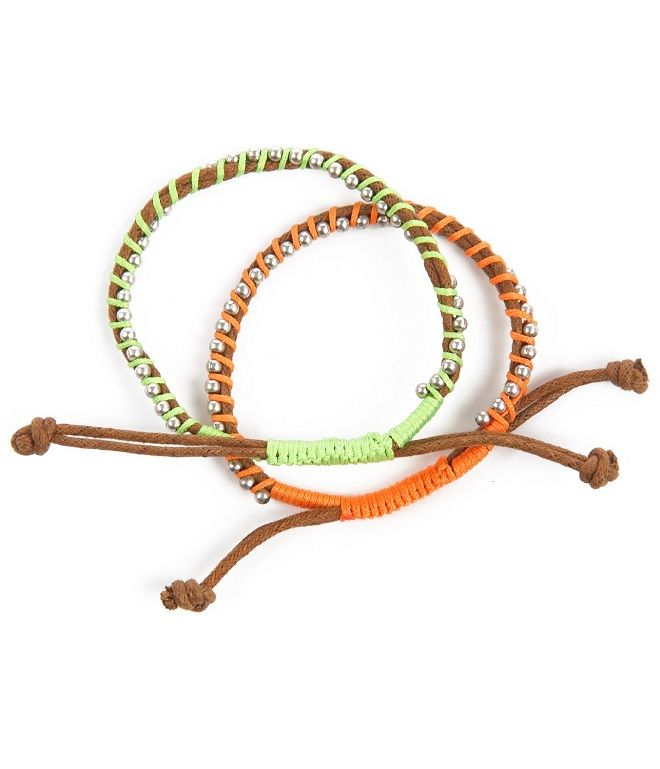 Plecione bransoletki z rzemyków w kolorze naturalnym i fluo