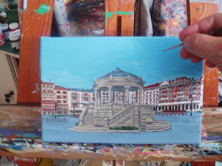 Latest #brush #strokes on my new #canvas #painting of #PlazaDelCastillo, #Pamplona, #Iruña.