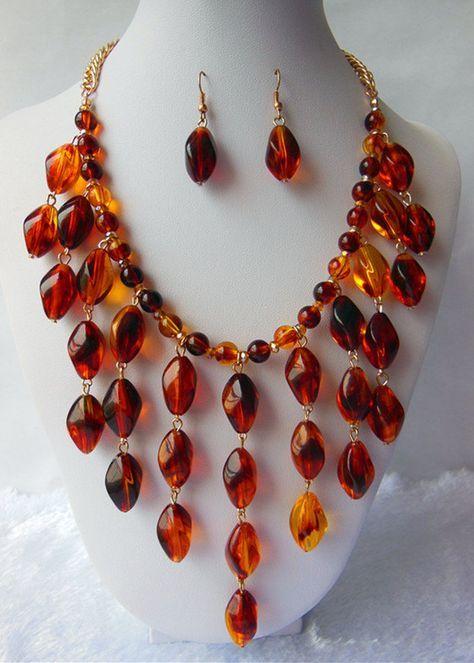 Conjunto de joyas de ámbar collar babero de ámbar por Daixijewelry, $12.00