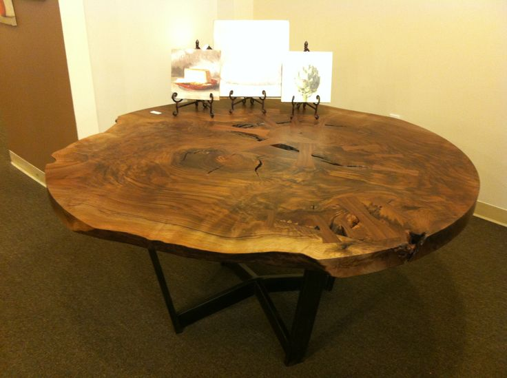 This Is A Stunning Black Walnut And Gun Metal Steel Table