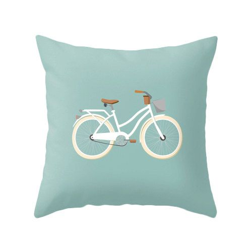 Retro bike illustration pillow cover that will liven up any room.    Please select which size you would like using the drop-down menu options above the