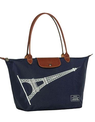 Longchamp Le Pliage Eiffel Tower in Navy, large long handle