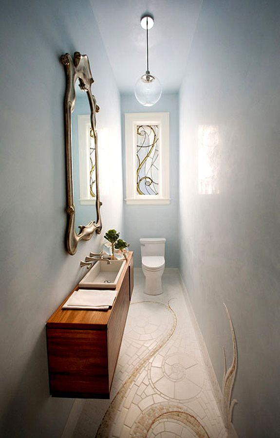 3' by 9' powder room designed by Marsh and Clark