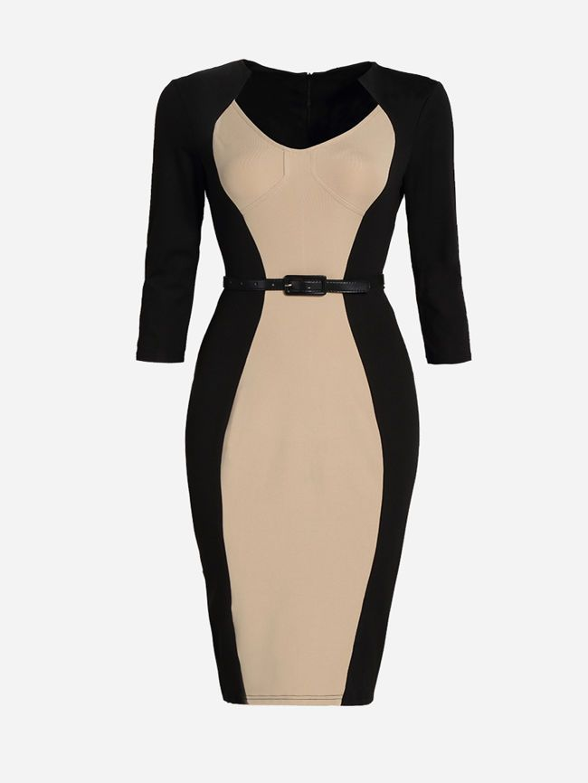 Buy Office Slit Color Block Plus Size Bodycon Dress online with cheap prices and discover fashion Plus Size Bodycon Dresses at Fashionmia.com.