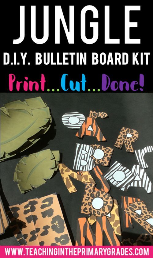 This D.I.Y. kit gives you all the ideas you need to make your own jungle themed bulletin board. Use this pack to make an easy rain forest back to school bulletin board to welcome your new students.  You can also use these elements to create a fun safari themed classroom door decoration.
