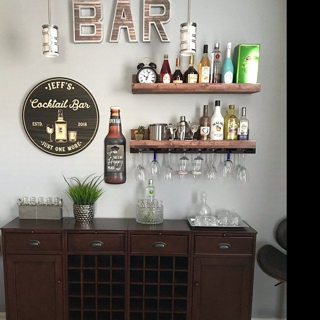 Wood Wine Rack Wall Mounted Shelf Hanging Stemware Glass Holder Organizer Bar Shelf Unique Rustic In 2020 Home Bar Decor Bar Cabinet Decor Coffee Bar Home