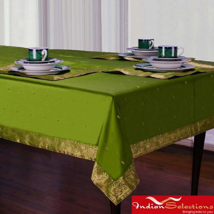 Indian Selections Handmade Forest Green Sari Table Cloth (India) (60 Inches X 84 Inches - Rectangle), Tan (Polyester, Border)