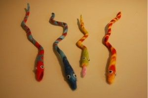 wet felted snakes - kid's project - feb 1 serpent day